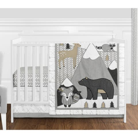 Sweet Jojo Designs Beige Grey White Boho Mountain Animal Woodland Forest Friends Unisex Boy Girl 4-pc Nursery Crib Bedding Set