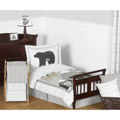 Sweet Jojo Designs Beige Grey Boho Mountain Animal Woodland Forest Friends Collection Unisex Boy Girl 5-pc Toddler Comforter Set