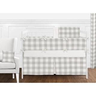 Sweet Jojo Designs Gray White Rustic Woodland Flannel Grey Buffalo Plaid Check Boy Girl Collection 9-pc Nursery Crib Bedding Set