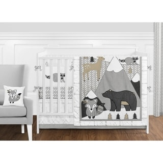 Sweet Jojo Designs Beige Grey Boho Mountain Animal Woodland Forest Friends Unisex Boy or Girl 9-pc Nursery Crib Bedding Set