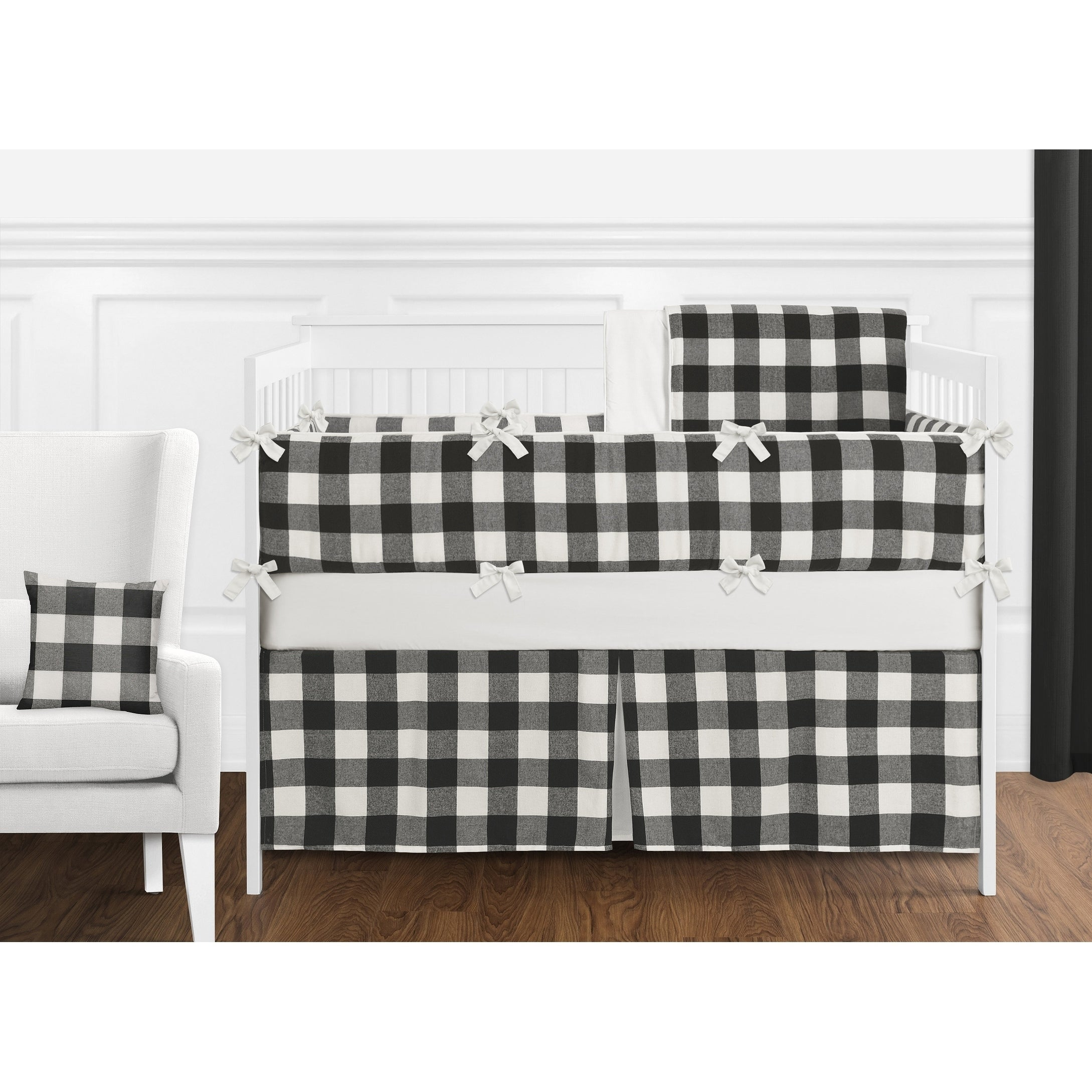 Black White Rustic Woodland Flannel