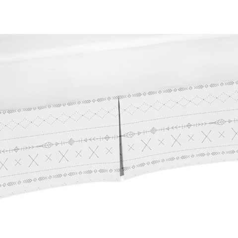 Sweet Jojo Designs Grey White Boho Tribal Herringbone Arrow Woodland Forest Friends Unisex Boy or Girl Collection Crib Bed Skirt