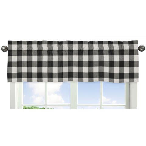 Sweet Jojo Designs Black and White Rustic Woodland Flannel Buffalo Plaid Check Collection Window Curtain Valance