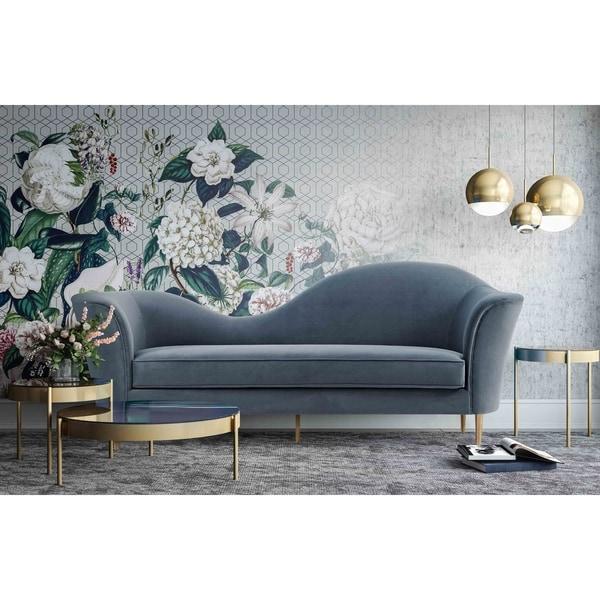 Plato Grey Velvet Sofa. Opens flyout.