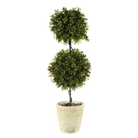 "Regency Spring Boxwood Double Ball Topiary 24"""