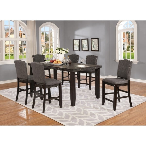 Best Quality Furniture Cappuccino 7-Piece Counter Height Dining Set