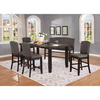 Best Quality Furniture Cappuccino 6-Piece Counter Height Dining Set w/ Counter Height Bench