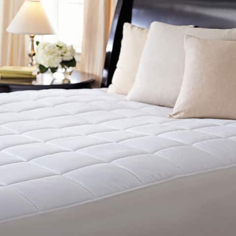 Sunbeam Premium Quilted Heated Electric Mattress Pad Box Pattern Full White
