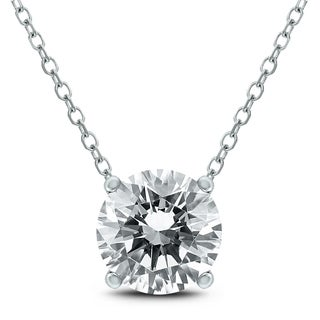 Signature Quality 1 Carat Floating Round Diamond Solitaire Necklace In 14K White Gold F G Color I1 I2 Clarity
