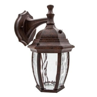 Maxxima LED Outdoor Wall Light, Aged Bronze w/Clear Water Glass, Dusk to Dawn Sensor, 580 Lumens Warm White - N/A