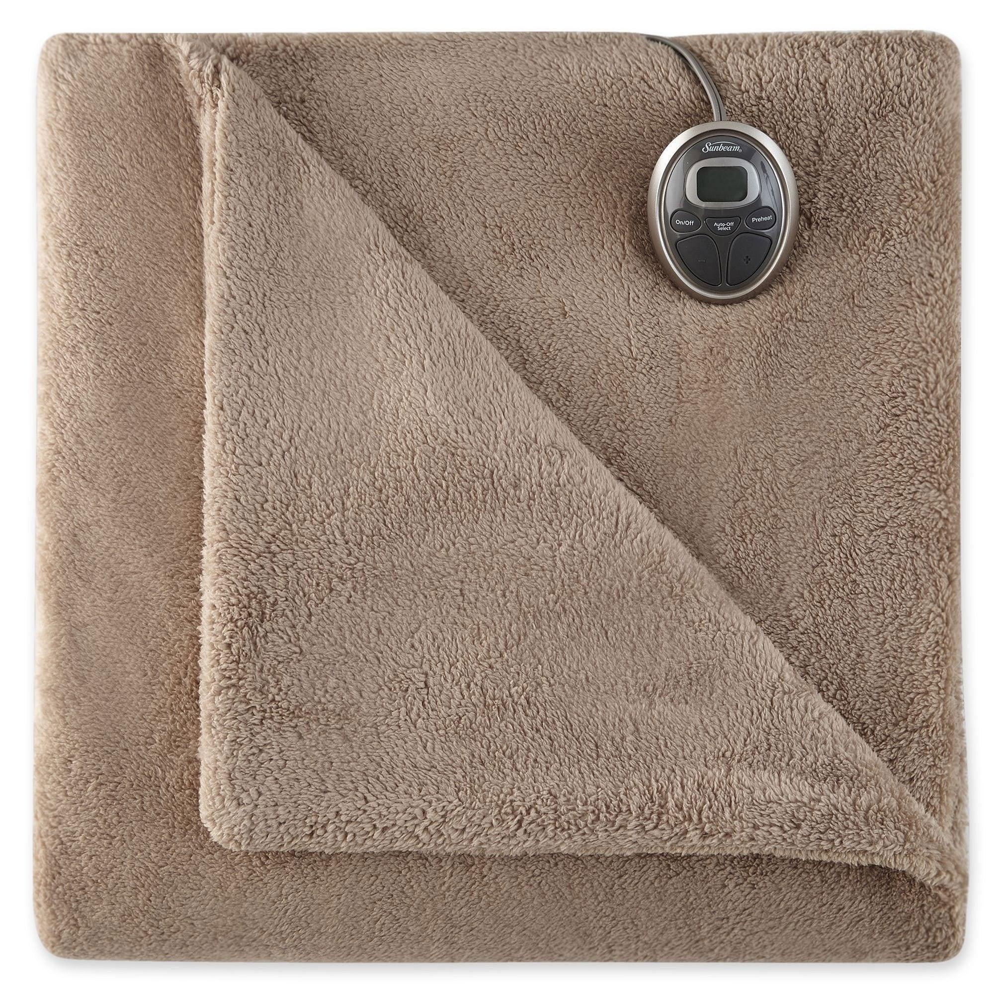Sunbeam Channeled Microplush Heated Electric Blanket Full Mushroom .