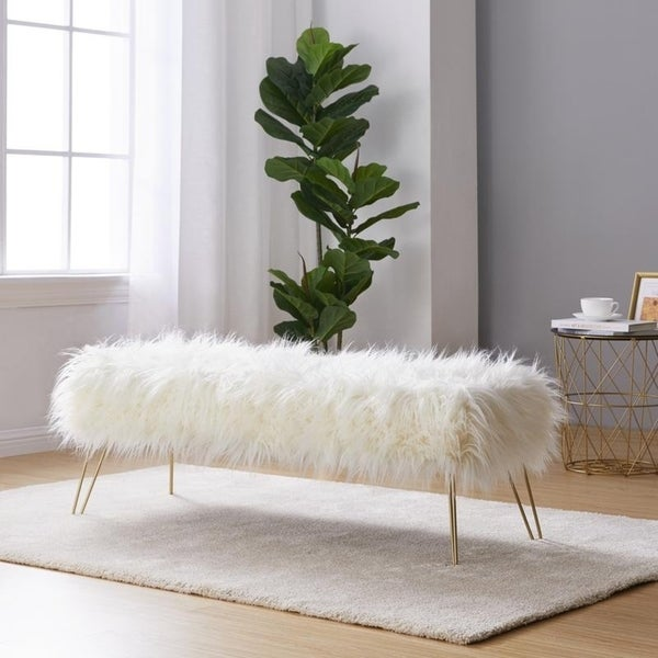 "Modern Contemporary Faux Fur Long Bench Ottoman With Gold Metal Legs   15"" L X 45"" W X 15"" H   White by Generic"