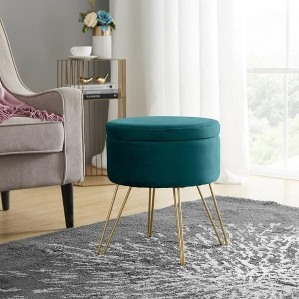 Phenomenal Shop Round Velvet Storage Ottoman With Gold Metal Legs Inzonedesignstudio Interior Chair Design Inzonedesignstudiocom