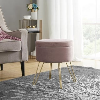 Round Velvet Storage Ottoman with Gold Metal Legs & Tray Top Table