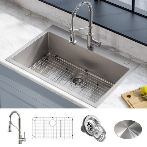 "Kraus Stark 33"" Undermount Drop-in Kitchen Sink Pulldown Faucet Combo"