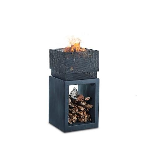 Danya B. Outdoor Rectangular Wood Burning Faux Stone Fire Pit
