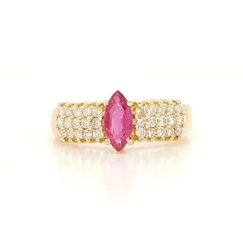 Kabella Marquise Ruby 3 Row Diamond Ring
