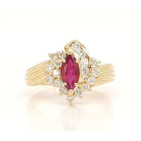 Kabella Vintage Marquise Ruby Diamond Ring