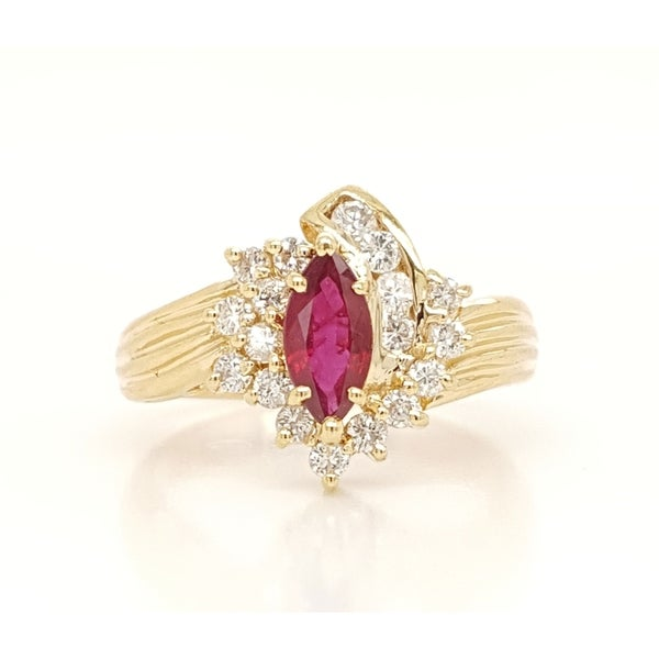Kabella Vintage Marquise Ruby Diamond Ring. Opens flyout.