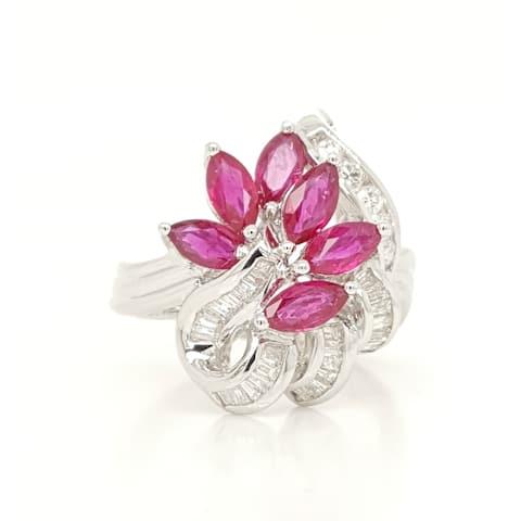Kabella Vintage Marquise Rubies Diamond Ring