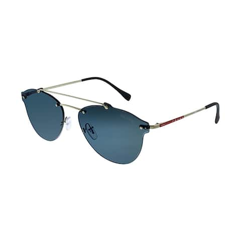 9cfe69a83 Prada Linea Rossa Lifestyle PS 55TS ZVN2E0 Unisex Pale Gold Frame Blue  Mirror Lens Sunglasses