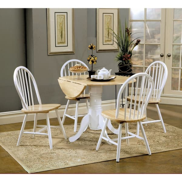 Greer Natural Brown and White Round Dining Table with Drop Leaf - Natural  Brown