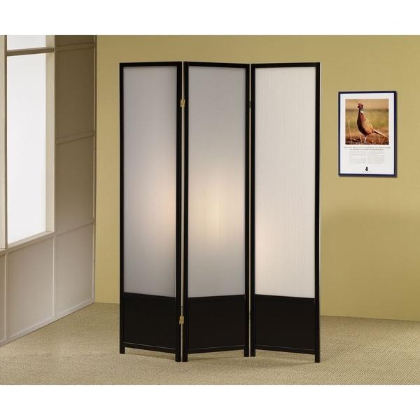 Halifax Black 3-panel Folding Floor Screen with Translucent Inserts
