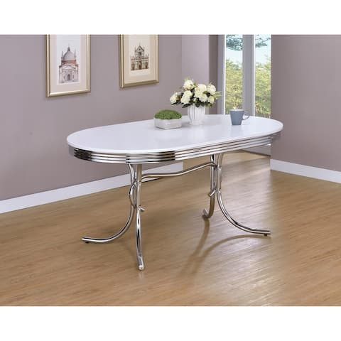 Parlisse White and Chrome Oval Dining Table