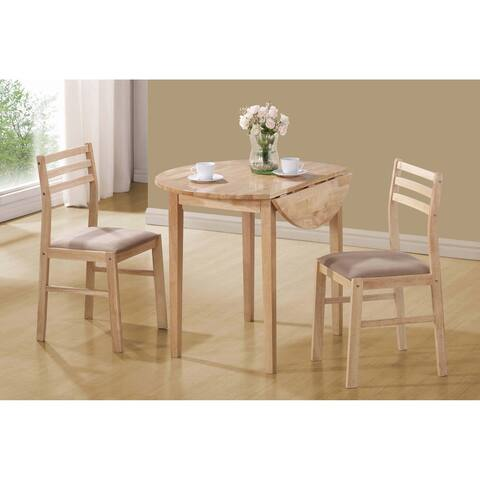 Erika Beige and Natural 3-piece Dining Set with Drop Leaf