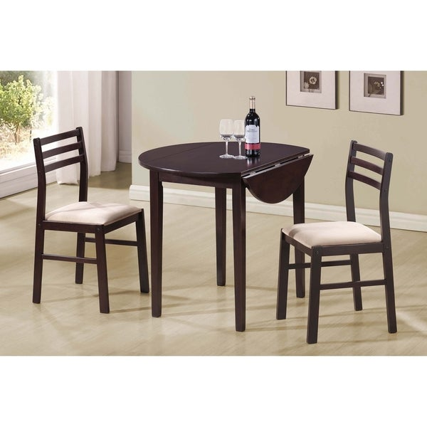 Erika Cappuccino and Tan 3-piece Dining Set with Drop Leaf