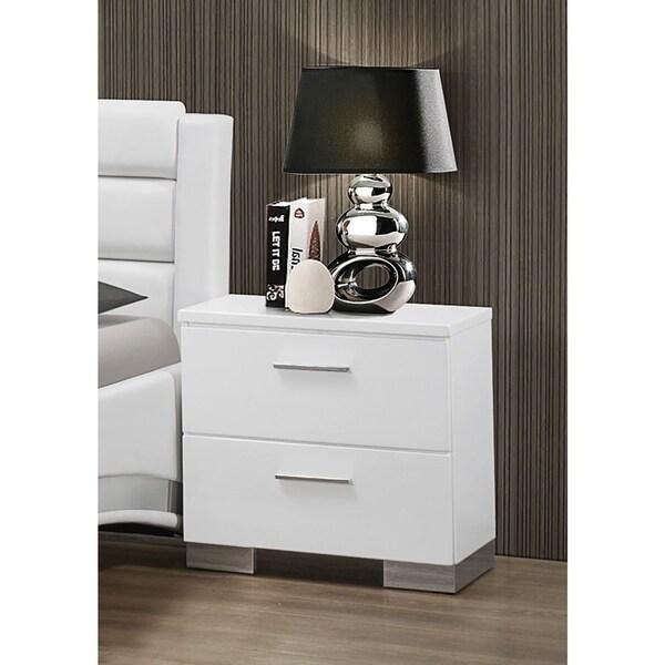 August Glossy White 2-drawer Nightstand