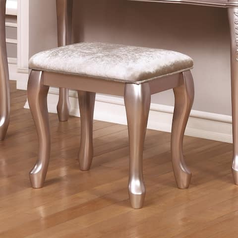 Seraphina White and Metallic Lilac Vanity Stool with Cabriole Legs