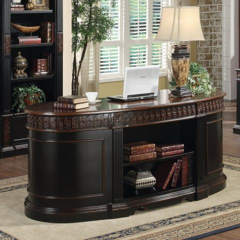 Smithfield Black and Chestnut Oval Double Pedestal Executive Desk