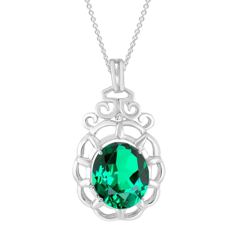Sterling Silver Diamond /& Created Emerald Pendant 14x10mm