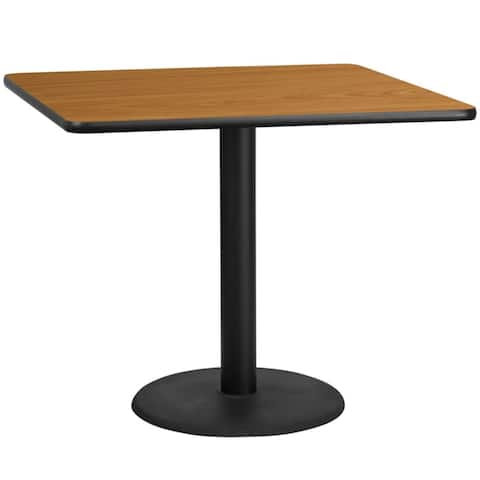 """Offex 42"""" Square Natural Laminate Table Top with 24"""" Round Table Height Base"""