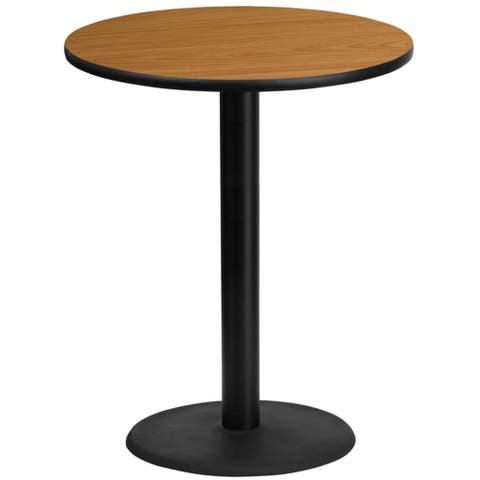 """Offex 36"""" Round Natural Laminate Table Top with 24"""" Round Bar Height Table Base"""