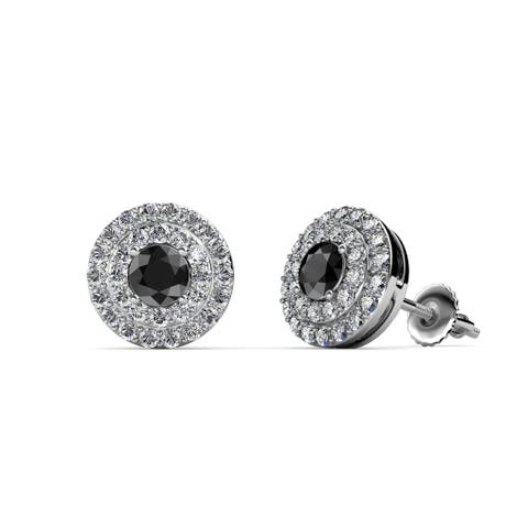 TriJewels Black and White Diamond Halo Earrings 0.85 ctw 14KW Gold