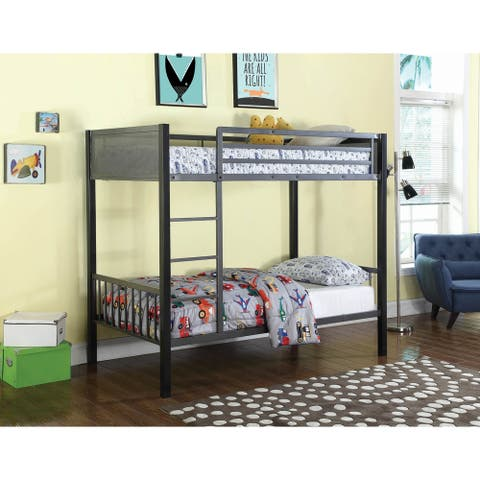 Simona Black and Gunmetal Twin over Twin Bunk Bed