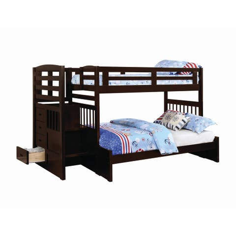 Riverton Cappuccino Twin over Full Bunk Bed with Staircase
