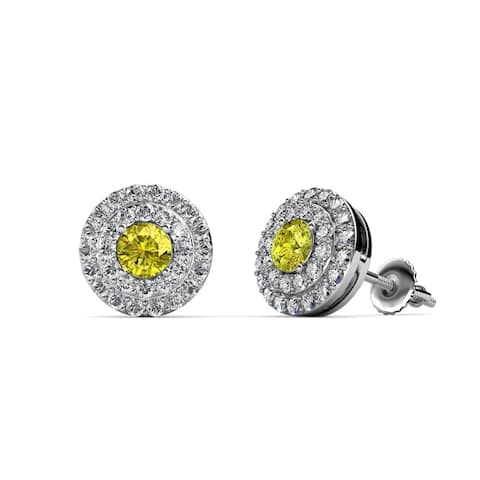 TriJewels Yellow and White Diamond Halo Earrings 0.80 ctw 14KW Gold