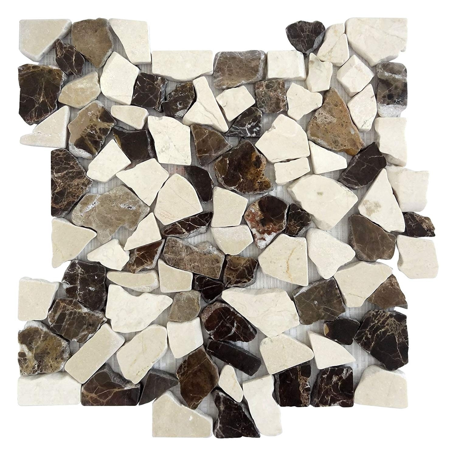 Interlocking Mocha Marble Mosaic 5 Pack Kitchen Bathroom And Patio Flooring Indoor And Outdoor Overstock 28631736