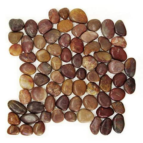 "PT 105 Polished Pebble Tile - Rustic Red 12""x12"" (11-Sheets)"