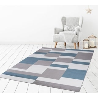 """Concord Global Madison Rectangles Grey Blue Area Rug - 7'10""""x 9'10"""""""