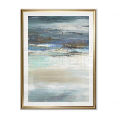 Geo Cache in Aqua Tones -Framed Giclee Print