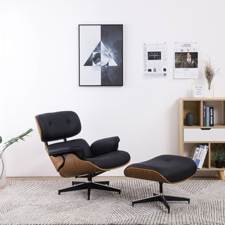 Vanity Art Black Bonded Leather Comfortable Arms Swivel Chairs Metal Frame Leisure Chair with Ottoman Set Lounge Chairs
