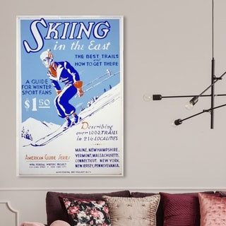 Oliver Gal 'Skiing in the East' Advertising Wall Art Canvas Print - Blue, White