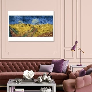 Oliver Gal 'Van Gogh - Wheatfield with Crows' Classic and Figurative Wall Art Canvas Print - Yellow, Blue