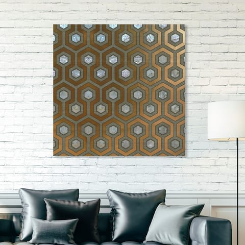 Oliver Gal 'Pearl Honeycomb' Abstract Wall Art Canvas Print - Gold, White