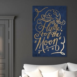 Oliver Gal 'To The Moon Navy' Typography and Quotes Wall Art Canvas Print - Blue, Gold