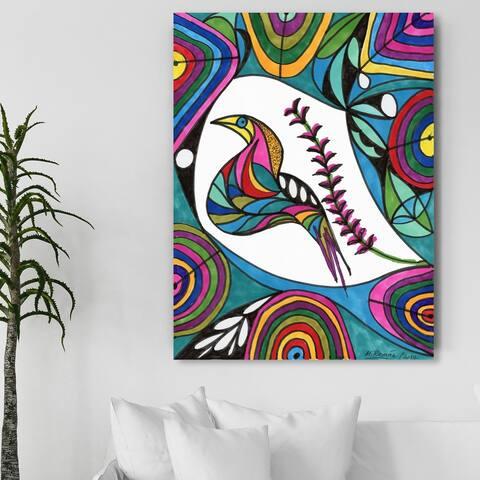 Oliver Gal 'Manuel Roman - Lucky Bird' Animals Wall Art Canvas Print - Pink, Green